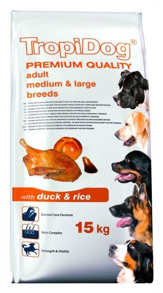 TropiDog Premium Adult für mittlere & große Rassen mit Ente & Reis