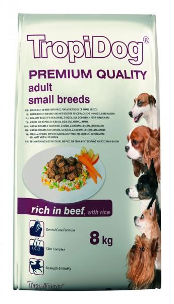 TropiDog Premium Adult für kleine Rassen reich an Rind & Reis