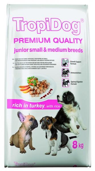 TropiDog Premium Junior für kleine Rassen mit Truthahn & Reis