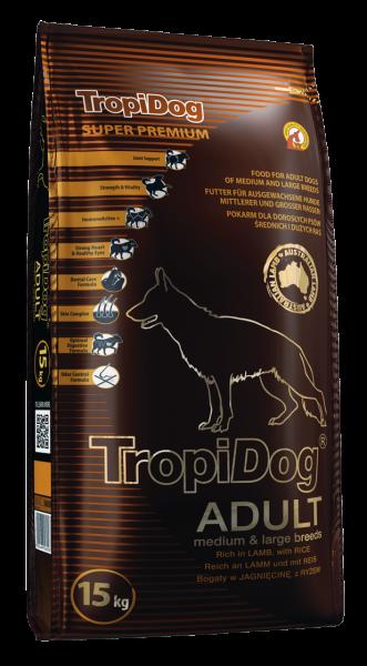 TropiDog Adult für mittlere & große Rassen mit Lamm & Reis