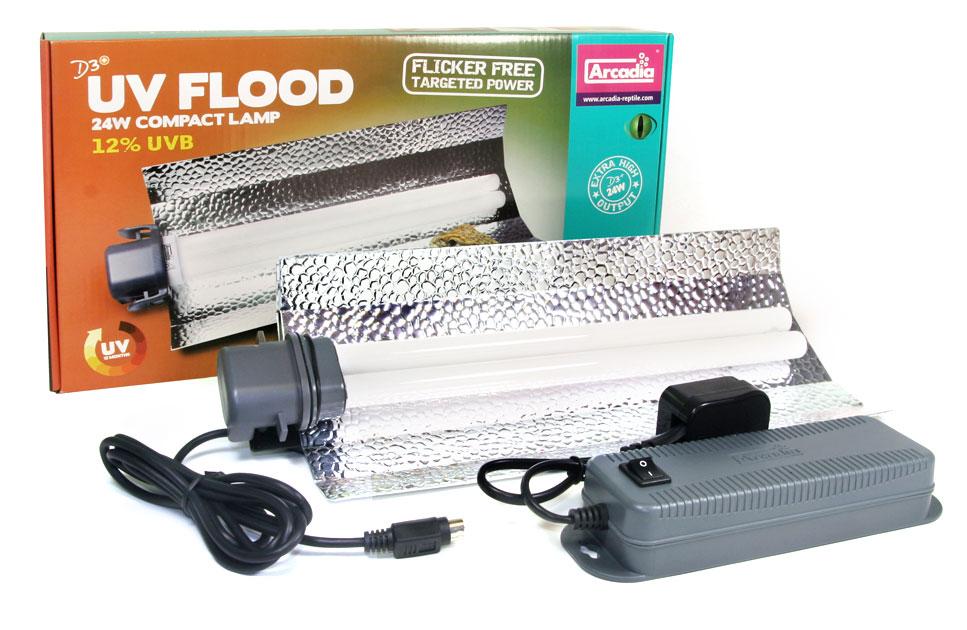 Arcadia D3+ UV Flood Kompaktlampe Komplettset 24 Watt
