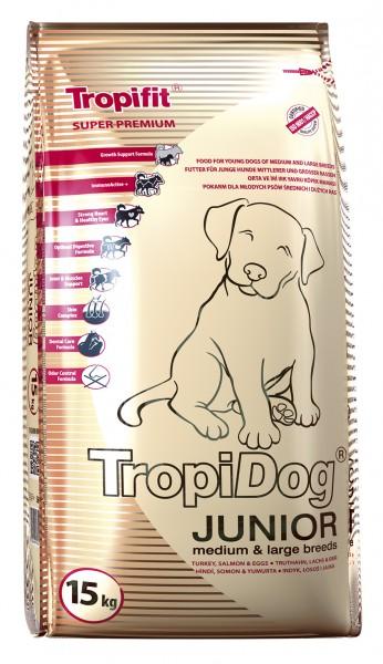 TropiDog Junior für mittlere & große Rassen mit Truthahn, Lachs & Eiern