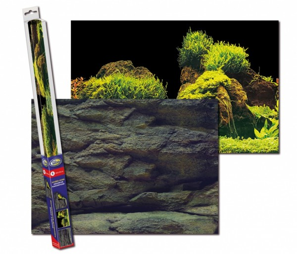 AquaNova Aquarium Posterrückwand Felsen und Pflanzen