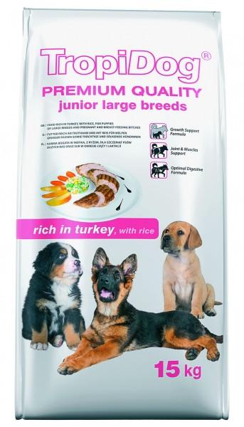 TropiDog Premium Junior für mittlere & große Rassen mit Truthahn & Reis