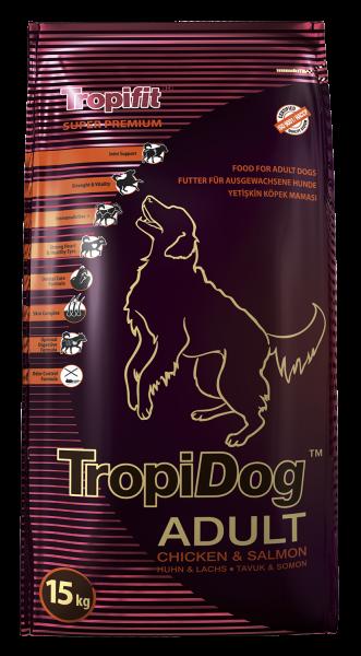 TropiDog Adult für mittlere & große Rassen mit Lachs & Hühnchen
