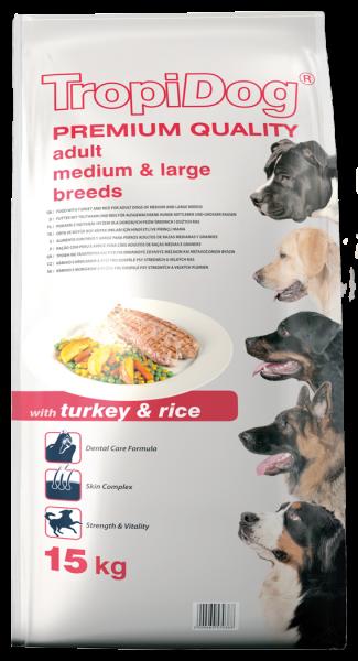 TropiDog Premium Adult für mittlere & große Rassen mit Truthahn & Reis